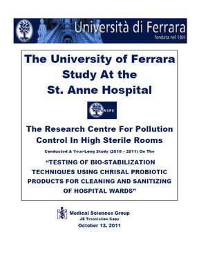 Die Ferara Studie - probiotische Reinigung im Krankenhaus Englisch