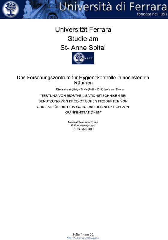 Die Ferrara Studie - probiotische Reinigung im Krankenhaus