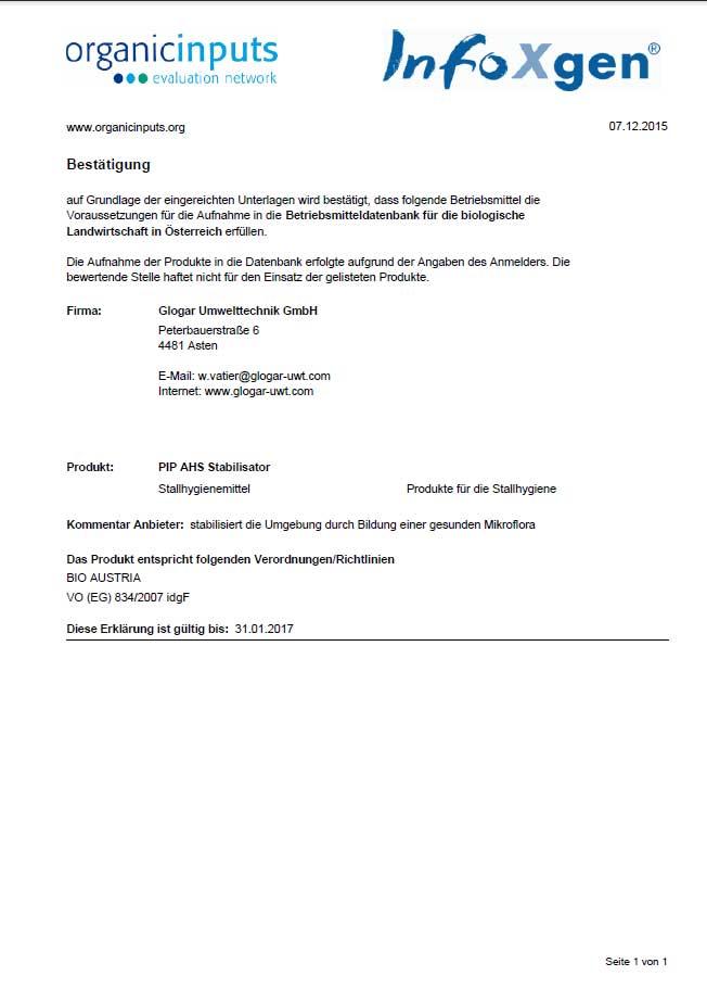 BIO-Konformitätserklärung PIP-AHS